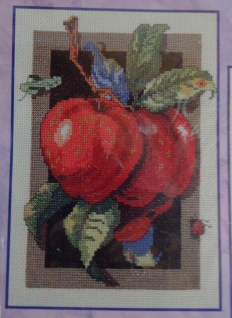 Apple Counted Cross Stitch Kit New Sealed Bucilla Lady Bug Grasshopper 42856