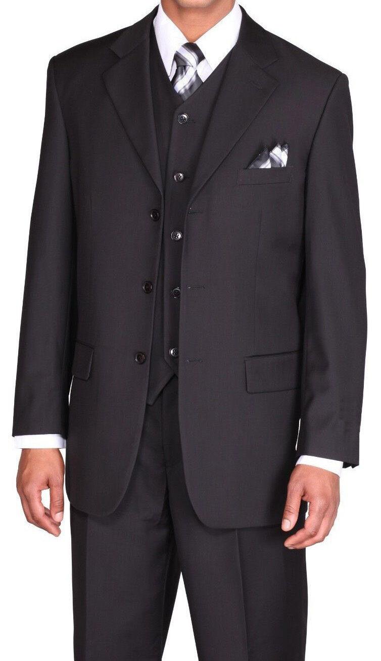 Men's Solid Three Button Wool Feel Suit w/ Vest 5802V Multicolor Size 38R - 56L