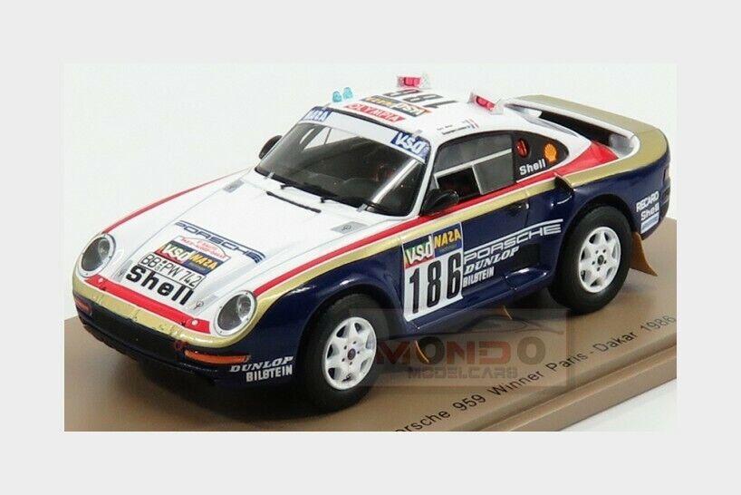 PORSCHE 959  186 Winner Rally Paris Dakar 1986  Metge Lemoine SPARK 1 43 S7815  meilleurs prix et styles les plus frais