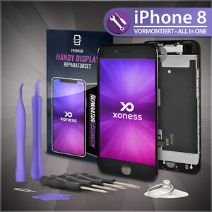 Ersatz-LCD-iPhone-8-Display-Schwarz-KOMPLETT-VORMONTIERT-Retina-Bildschirm-Black