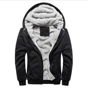 Men-039-s-Winter-Jacket-Fleece-Zip-Up-Hooded-Coat-Pullover-Casual-Thick-Sweatshirt