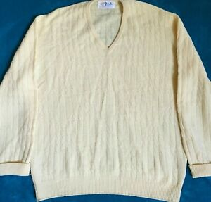 Pringle Of Scotland Mens Yellow Lambswool Cable Knit V Neck Sweater Size 44 Xl Ebay