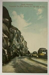 1912-MN-Postcard-Duluth-14th-Avenue-West-Showing-high-cliffs-Trolleys-streetcar