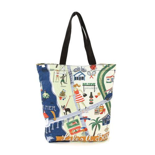 "Large Handbag 13/"" L Life/'s a Beach Printed Canvas Tote Bag 3 Inside Pockets"