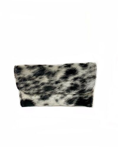 Coin Bag In Black Speckle Hair On Cowhide Leather USA Raviani Flat Wallet