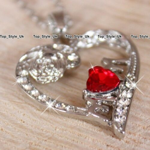 Mum Ruby Heart Silver Necklace Jewellery Birthday Christmas Presents for Her S1