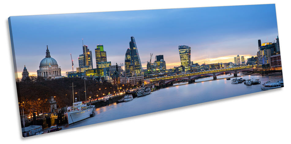 London City Famous Landmarks Picture PANORAMA CANVAS WALL ART Print