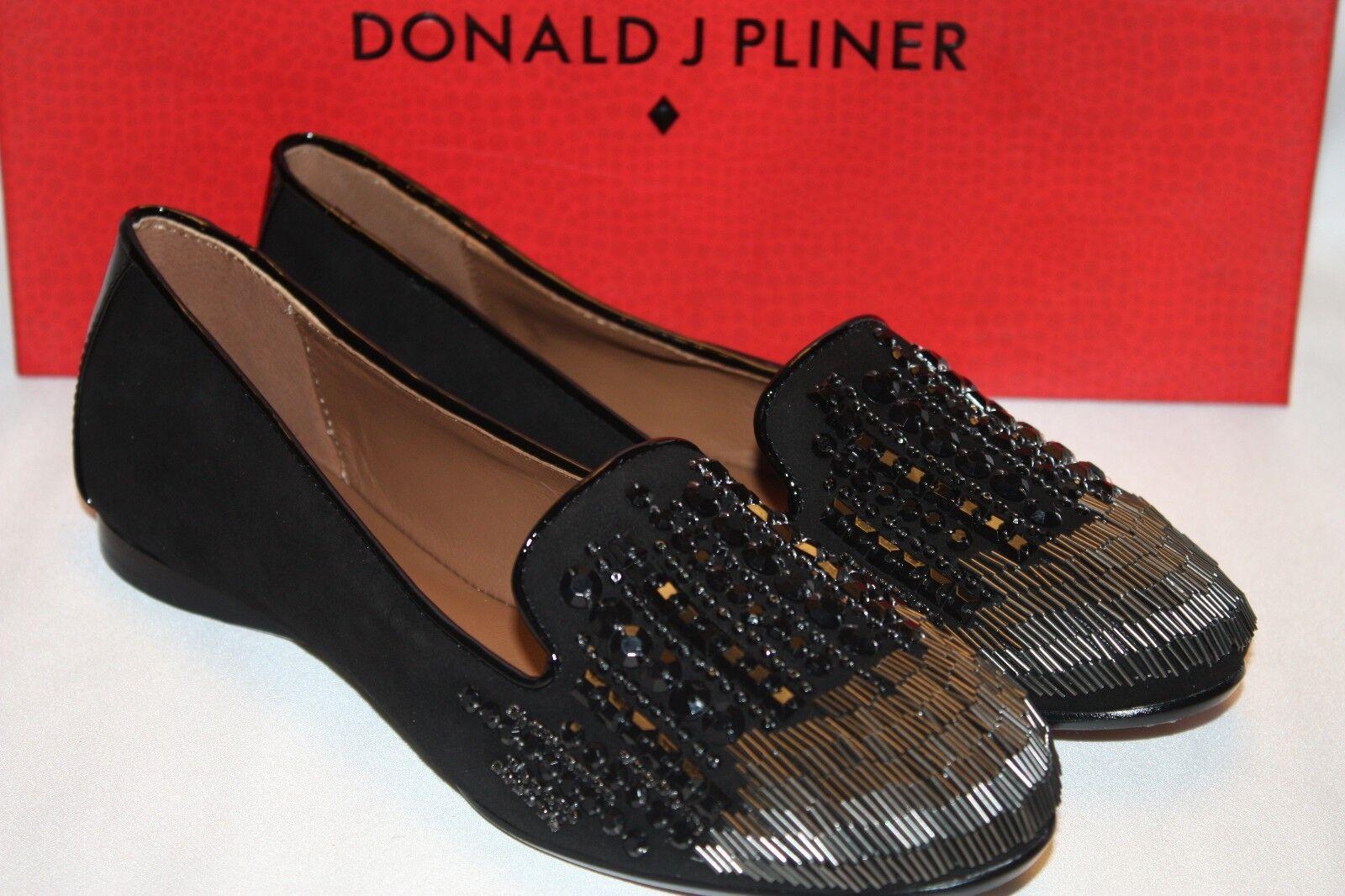NEW! NIB Donald J Pliner DITA Black Kid Suede Sparkle Beaded Smoking Loafer $198