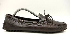 Cole-Haan-Brown-Crocodile-Print-Leather-Casual-Driving-Loafers-Shoes-Men-039-s-9-D