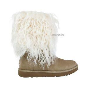 18a206e1977 ugg sheepskin cuff tall mongolian boots black up