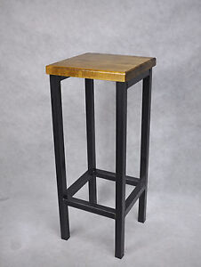 barhocker stahl holz massiv barstuhl industrial design metall hocker h 70 cm ebay. Black Bedroom Furniture Sets. Home Design Ideas