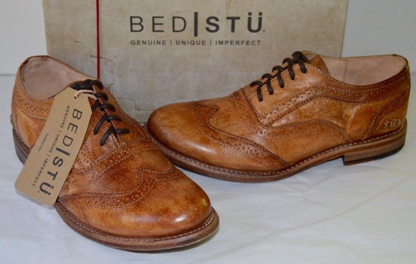 New Bed Stu Lita Oxford Wingtips Tan Brown Driftwood Vintage Leather Cobbler
