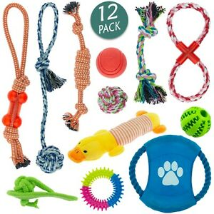 Dog-Toy-Pet-Puppy-Play-Chew-Braided-Cotton-Rope-Frisbee-Bundle-Job-lot-Pack-12