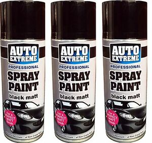 3 x 400ml black matt spray paint aerosol can auto extreme. Black Bedroom Furniture Sets. Home Design Ideas