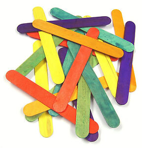 KIDS ART CRAFT **SALE **50 100 Wooden Lolly Lollipop Sticks Natural Coloured