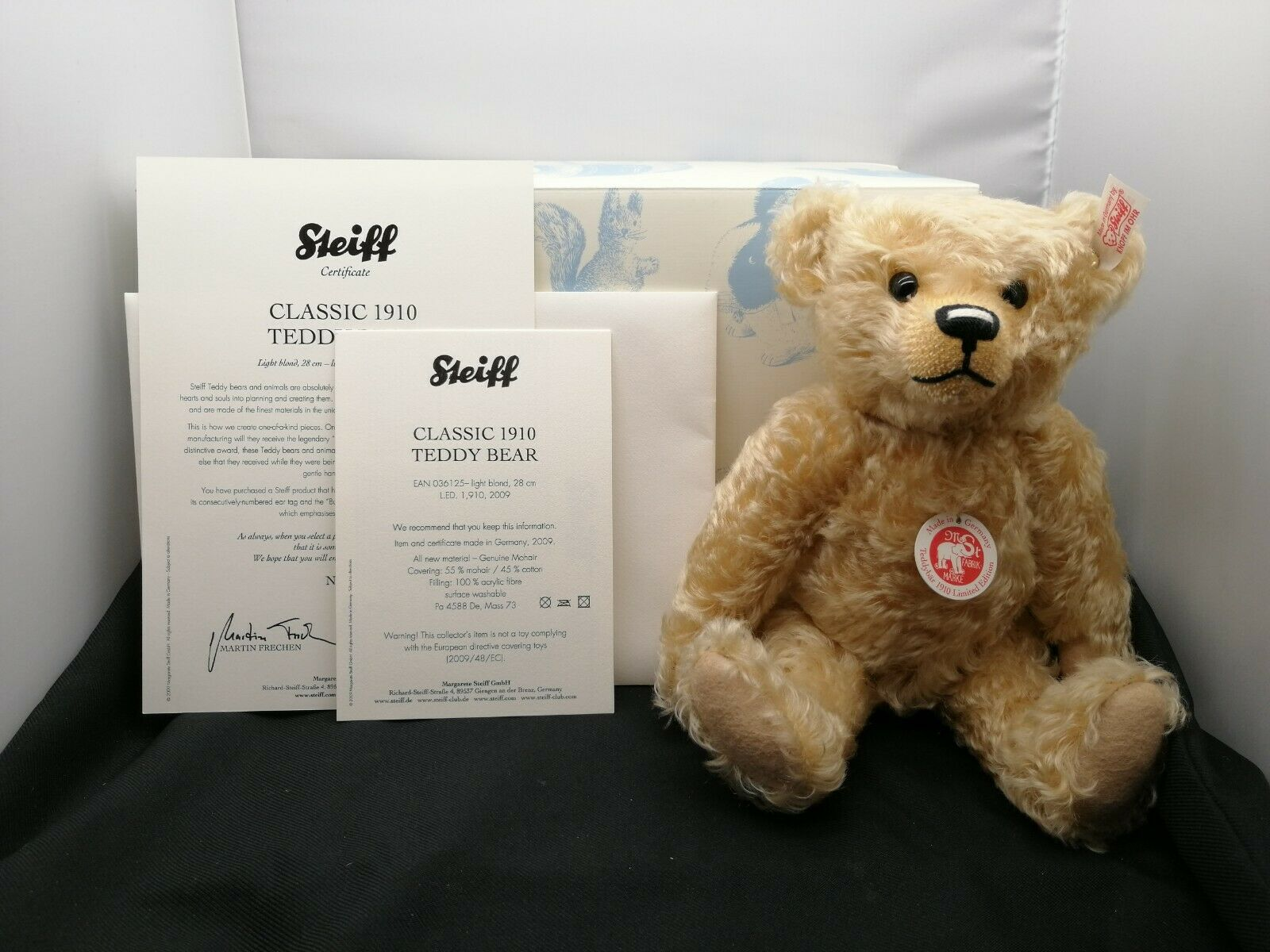 Very Rare Retirot Steiff Classic 1910 Teddy Bear Blond 28cm No 036125 SU428