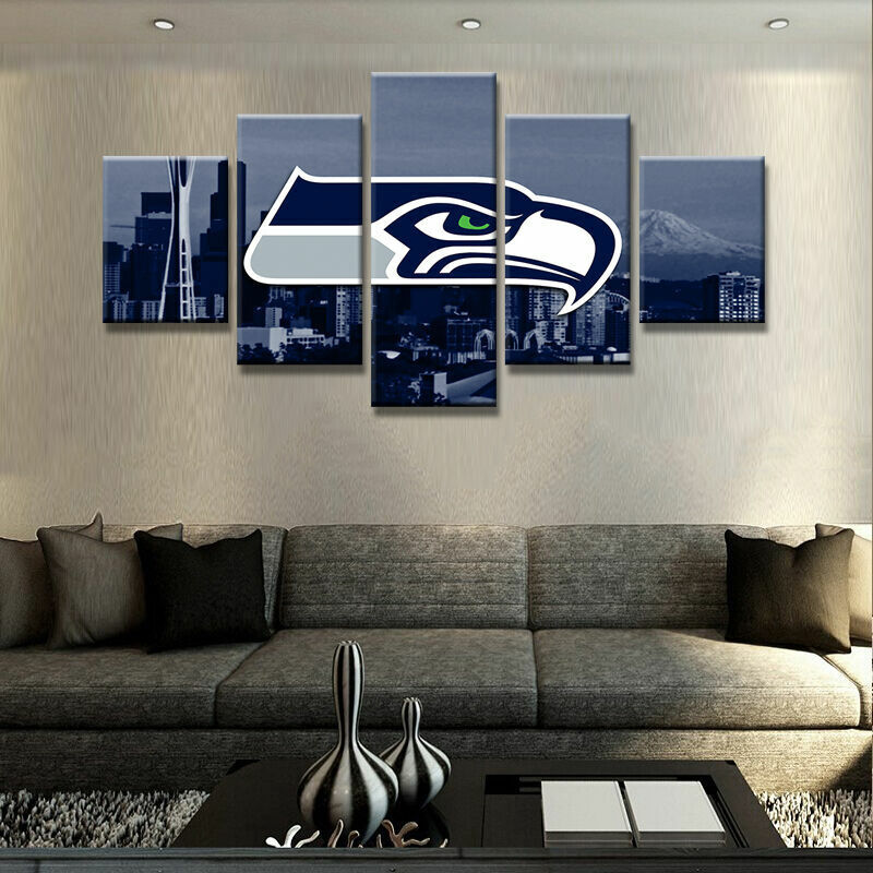 Seattle Seahawks Cityscape Five Piece Framed Canvas Multi Panel Home Decor Wall