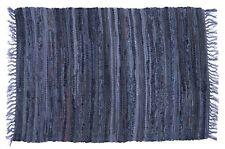 "Sturbridge 30"" x 50"" Braided Rag Rug, Denim Blue, 100% Cotton, Multi-Color Acent"