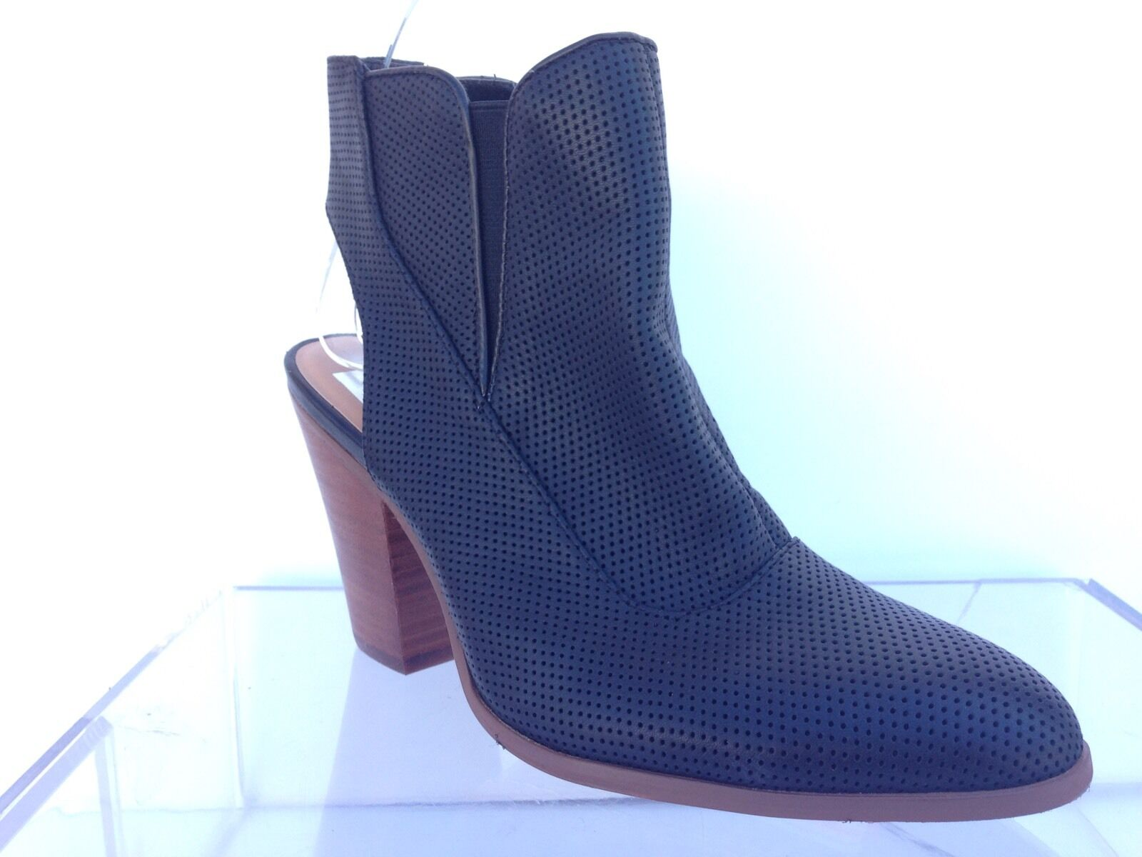 Womens Dolce Vita black/perforated leather ankle booties/ shoes sz. 7.5 M