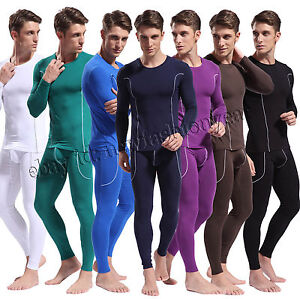 Fashion Men's Bamboo Fiber Thermal Underwear Set Long Sleeve Shirt ...