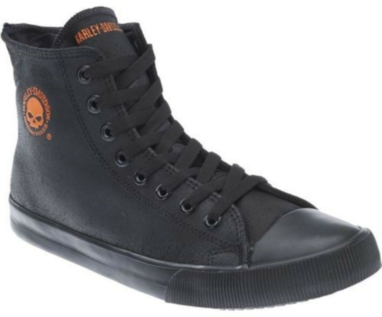 Harley Davidson Baxter Biker Men Schuhes High Top Sneaker schwarz Orange Leder