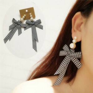 Popular-Korean-Style-Ribbon-Bow-Tie-Dangle-Piercing-Earrings-Girl-Decor-HX