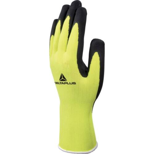 12 Pairs of Delta Plus APOLLON VV733 Safety Work Gloves with Yellow Latex