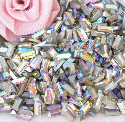 15 x Preciosa Vintage 5mm x 2.5mm Crystal Rhinestone Pointback Baguettes AB 3mm