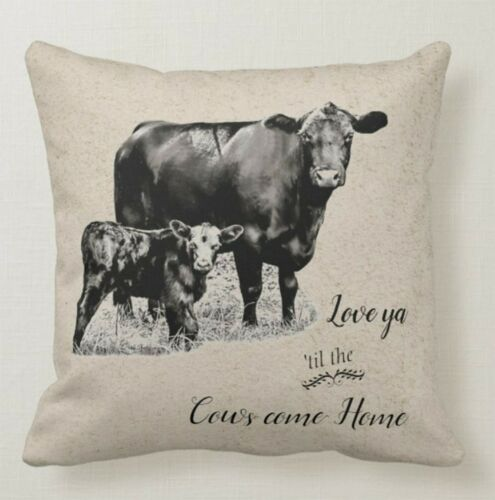 Baby Calf Throw Pillow//Love ya til the Cows Come Home//Black Angus Momma Cow