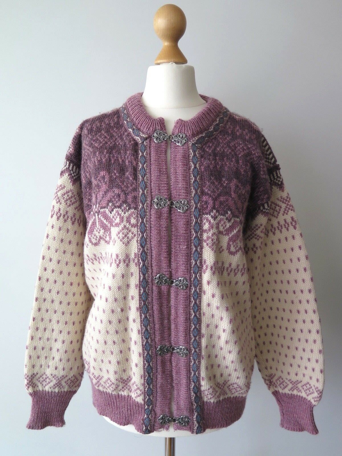 Dale Of Norway Womens Fair Isle Nordic Pewter Clasp Wool Cardigan Sweater Size S