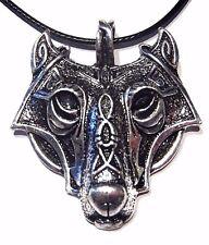 FENRIR NECKLACE silver wolf mask viking Celtic knot werewolf cord choker goth W5