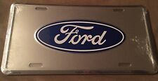 FORD CHROME LICENSE PLATE ALUMINUM EMBOSSED METAL FREE SHIPPING