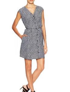 NWT Womens Diane von Furstenberg DVF Blk/Wht Floral Button Down Silk Dress Sz 14