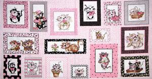 Loralie-Harris-Fancy-Cats-Kitty-Cat-Feline-Pink-Cotton-Fabric-24-034-X44-034-PANEL