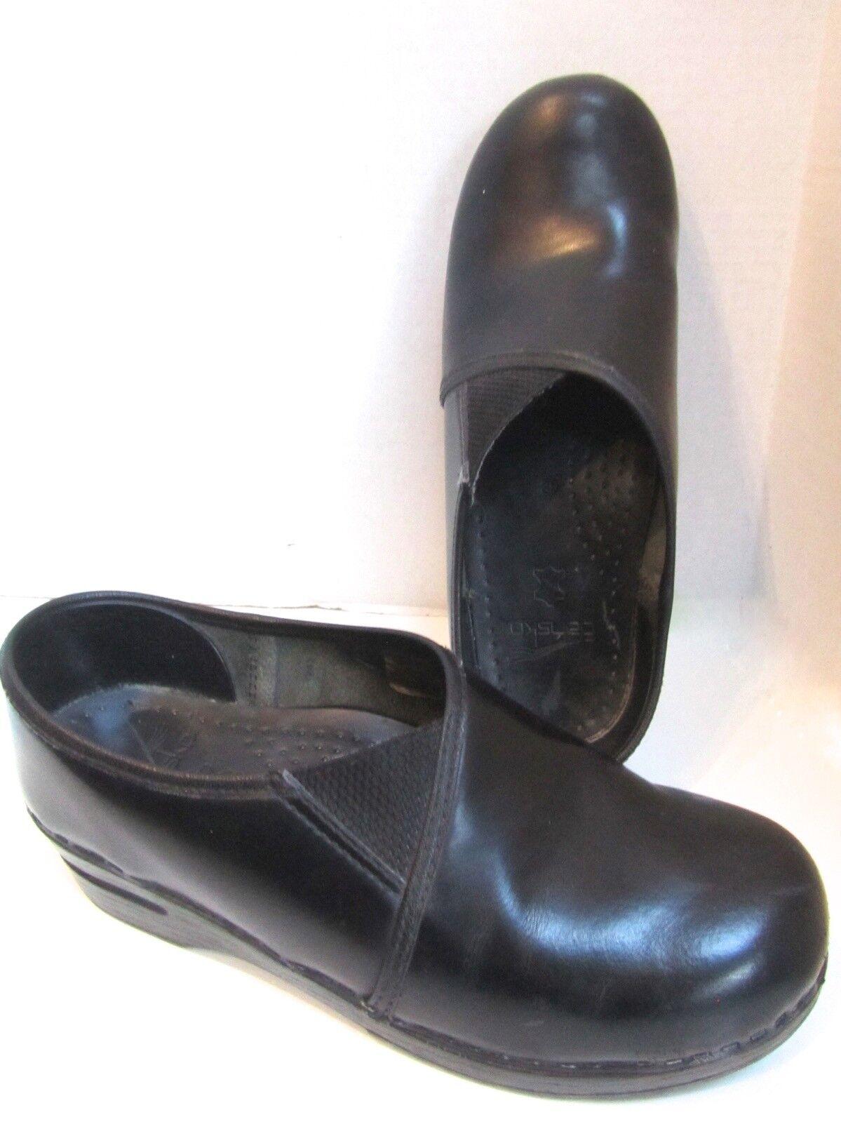 Dansko Professionnel Cuir Noir Enveloppant Accent Sabots Chaussures 39 8.5 EXC
