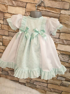DREAM 6 COLOURS PANNELLED  SPANISH PUFFBALL DRESS 0-7 YEARS OR REBORN DOLLS