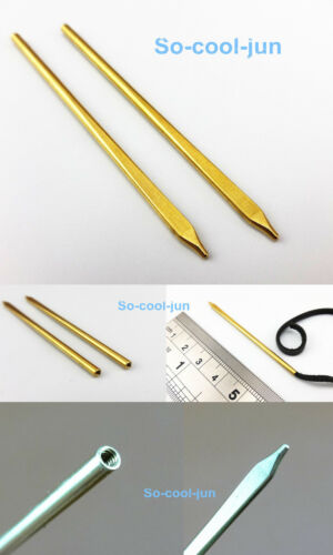 6pcs Leather Craft Brass Round Tapered Threaded Lacing Needle Tool  2-3mm NEW