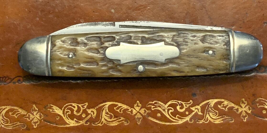 VNTG HIBBARD SPENCER BARTLETT CIGAR STOCKMAN POCKET KNIFE W/ PUNCH BLADE NICE!!