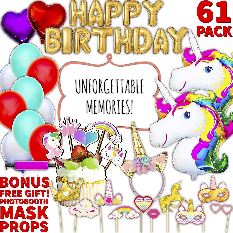 Unicorn Kids Party Supplies Set Gold Happy Birthday Banner Glitter Princess