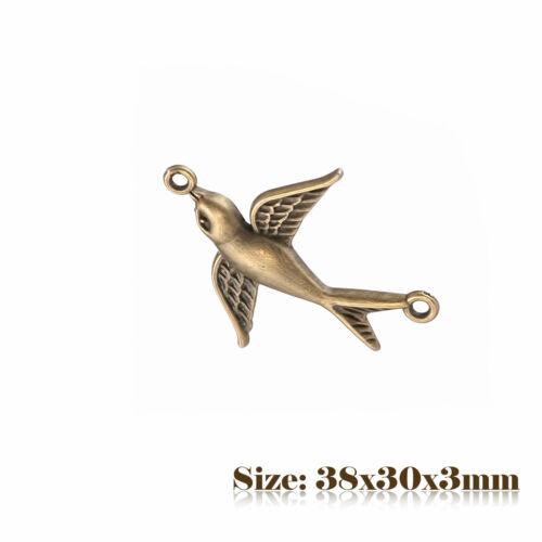 10 Bronze Antique Style Vintage Oiseau Connecteurs Charms Pendentif Steampunk 041
