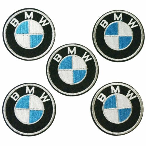 2.4 in 5 pièces environ 6.10 cm Argent BMW logo sew iron on Broderie Applique Patch