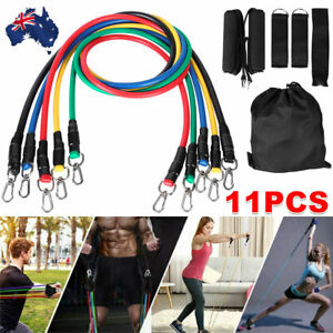 11X Resistance Bands Training Pull Rope Exercise Strap Fitness Equipment Gym Set