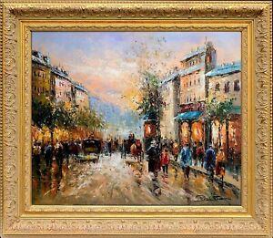 Framed Original Oil On Canvas, Jean Paul Signed, Paris Autumn Scene Landscape