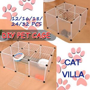 12-32-Panel-Cat-Dog-Pet-DIY-Villa-Home-Exercise-Cage-Anti-skip-Fence-Enclosure