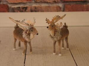 Pottery Barn Bottlebrush Elk Christmas Tree Ornaments Set