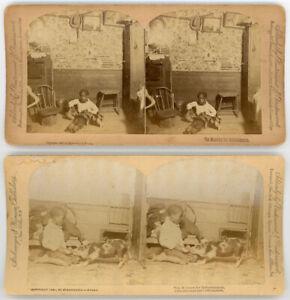 BLACK AFRICAN AMERICAN BOY & PET PIG 2 STEREOVIEWS 1890 ...