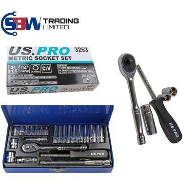 US PRO Tools 24pc 1/4 Drive Ratchet Metric Socket Set Deep & Shallow NEW 3253