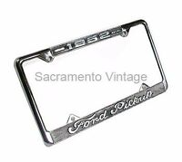 1952 Ford Pickup License Plate Frame F1 Truck Chrome With Black Background