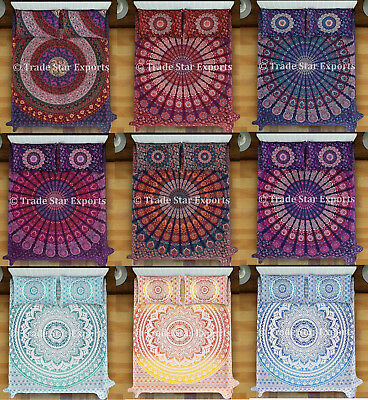 Indian Mandala Tapestry Bedding Set Bohemian Cotton Bedspread With 2 Pillow Case