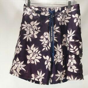 Driving-Force-Swim-Board-Shorts-Purple-Tropical-Print-Size-M-Medium-Mens